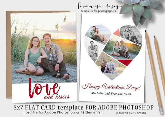 Valentines Day 5x7 Card Template For Adobe Photoshop Print Sku V1