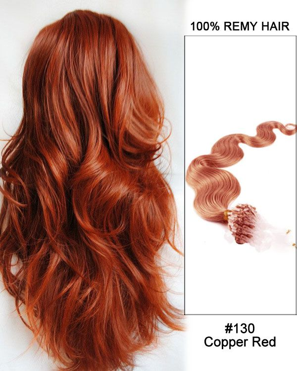 16 130 Copper Red Body Wave Micro Loop 100 Remy Hair Human Hair