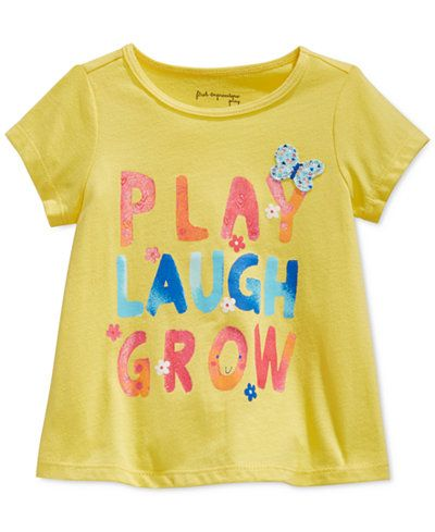 c946041e9 First Impressions Baby Girls' Short-Sleeve Play Laugh Grow T-Shirt, Only at  Macy's