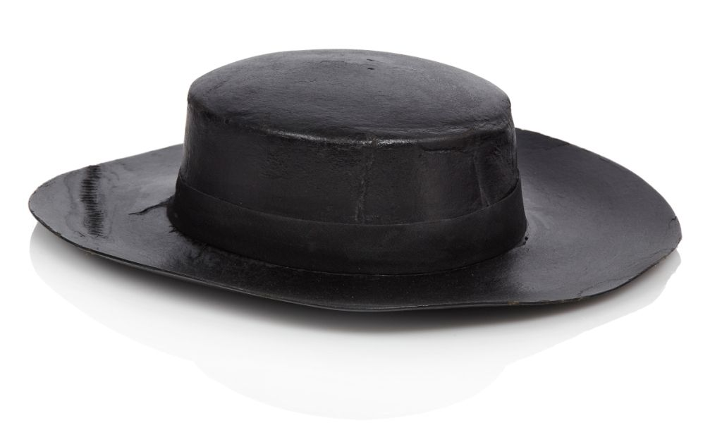 19th-century sailor s tarred felt hat with rim coarsely sewn on crown and  with old stitched repair across one corner ea6f1145c175