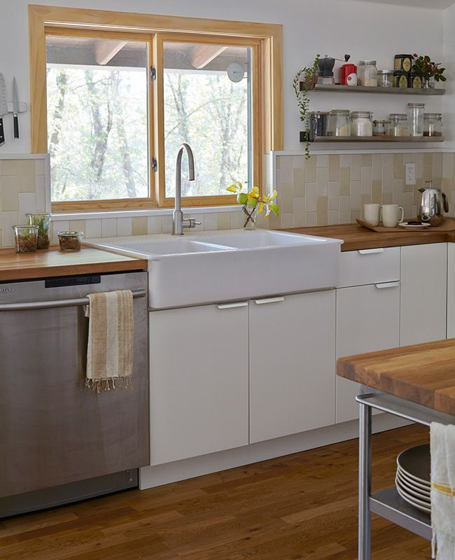 Love the double apron sink. Home Tour: Step Inside This Photographer's Modern California Cabin Retreat