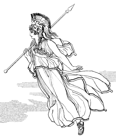 Athena With Spear Coloring Page Coloring Pages Fairy Coloring Pages Ancient Greece Mythology
