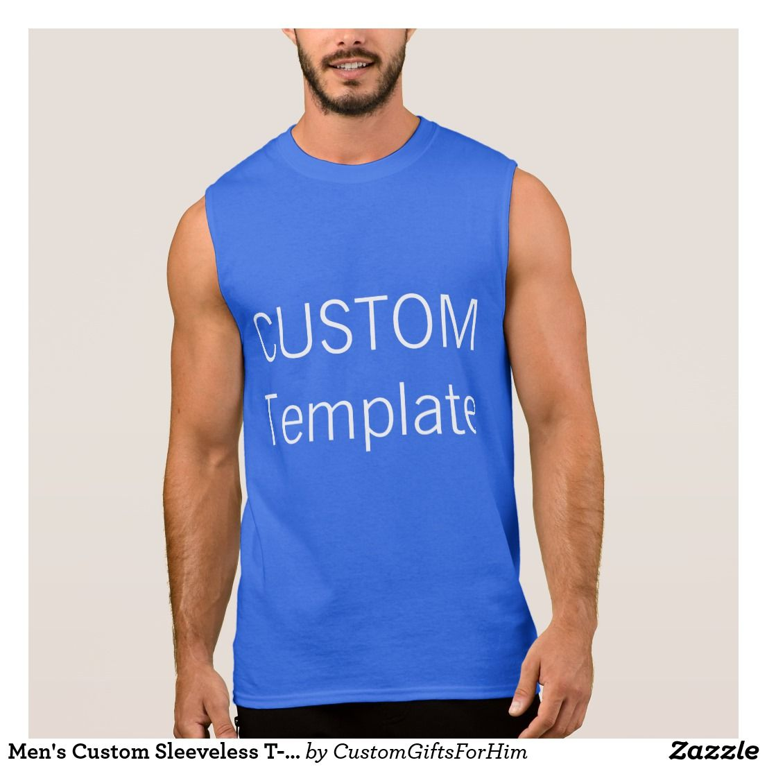 Mens Custom Sleeveless T Shirt Tank Top Roy Blue Pinterest