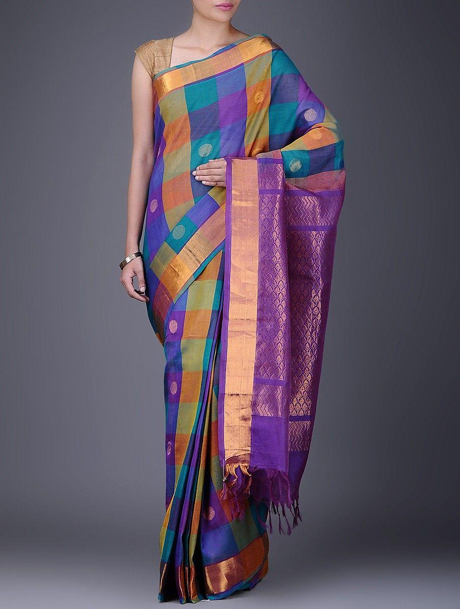 c8644859b13a3 Purple-Blue Checkered Cotton Silk Saree with Zari Border on Jaypore.com