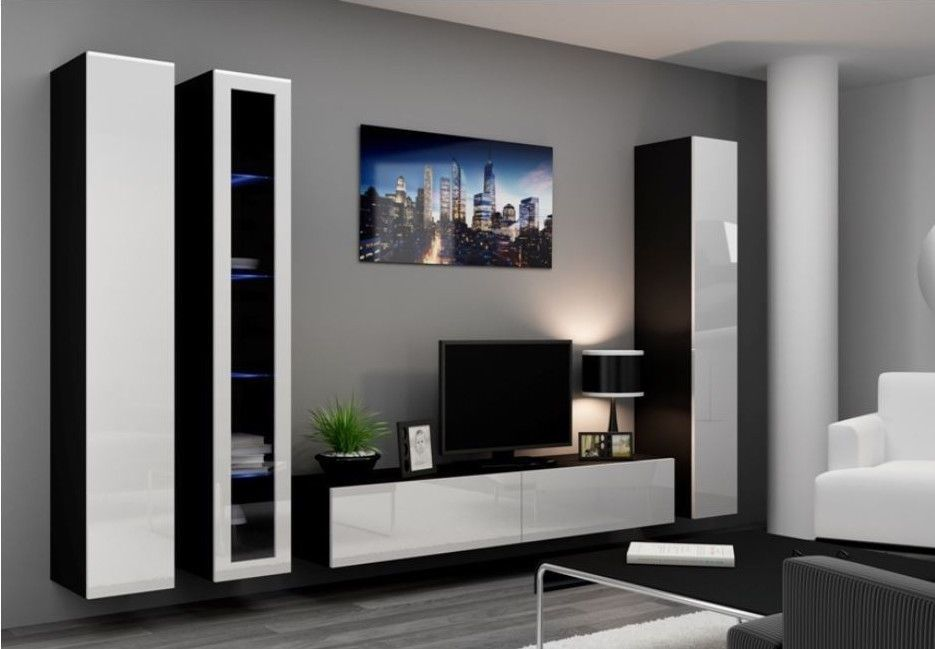 Details About High Gloss Tv Cabinet Tv Wall Unit Tv Stand Viva 2a Mobilier De Salon Meuble Tv Mural Design Et Ensemble Meuble Tv