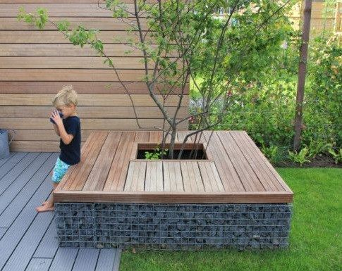 gabion supporting garden seating. Black Bedroom Furniture Sets. Home Design Ideas