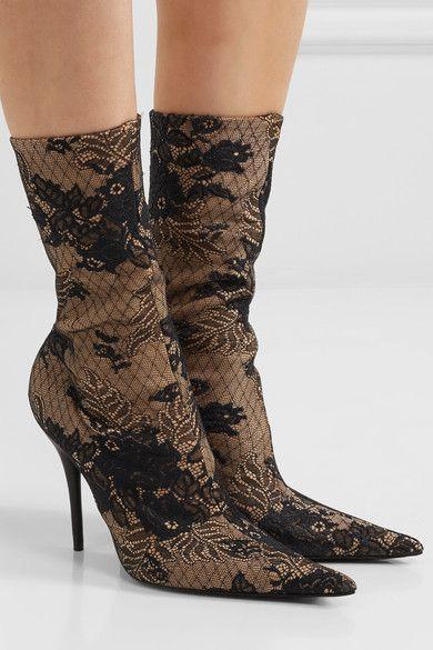 ff65d7df0728 Balenciaga - Lace And Spandex Boots - Beige