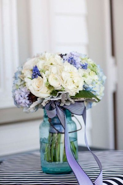 Ivory And Blue Wedding Bouquet In Mason Jar