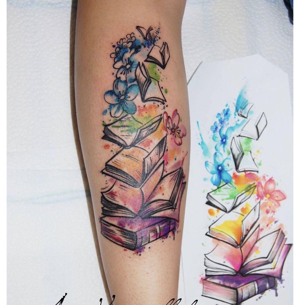 Colorful Books And Flowers Tattoo Tattooidea Bookish Tattoos Tattoos Beautiful Tattoos