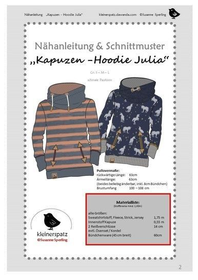 Photo of Nähanleitung und Schnittmuster Hoodie mit Kapuze 'Julia'