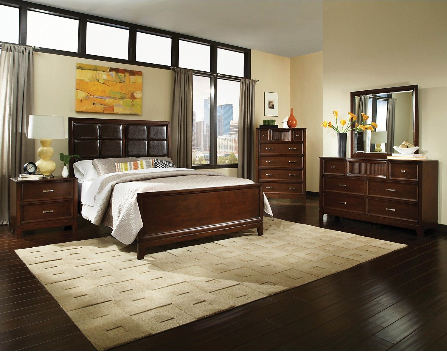 A Dark Brown Bedroom Furniture Set With An Ebony Finish Home
