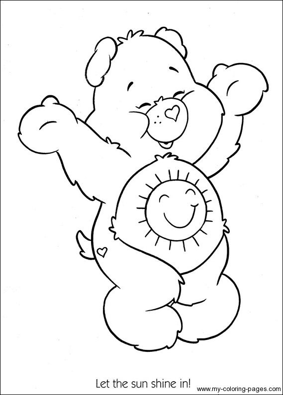 Care Bears Sunshine Bear Coloring Printable Page Bear Coloring