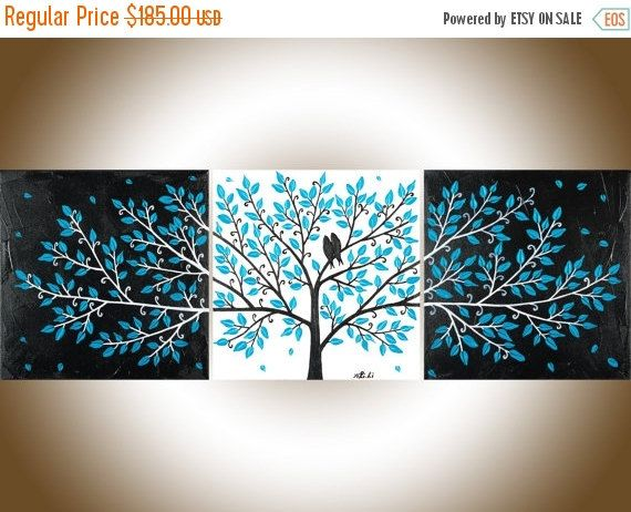 Turquoise black white Love birds painting set of 3 wall art wall ...