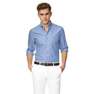 Gant The Breton Long Sleeve Shirt Deep Cobalt Blue - £85 with FREE ...