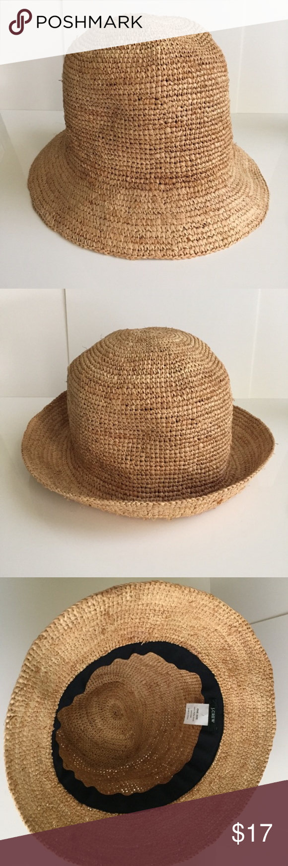 90e56d01 J crew Raffia bucket hat Perfect for the beach or pool side. Wear it brim  up or down. 100% raffia. Only worn once. Exellent condition.