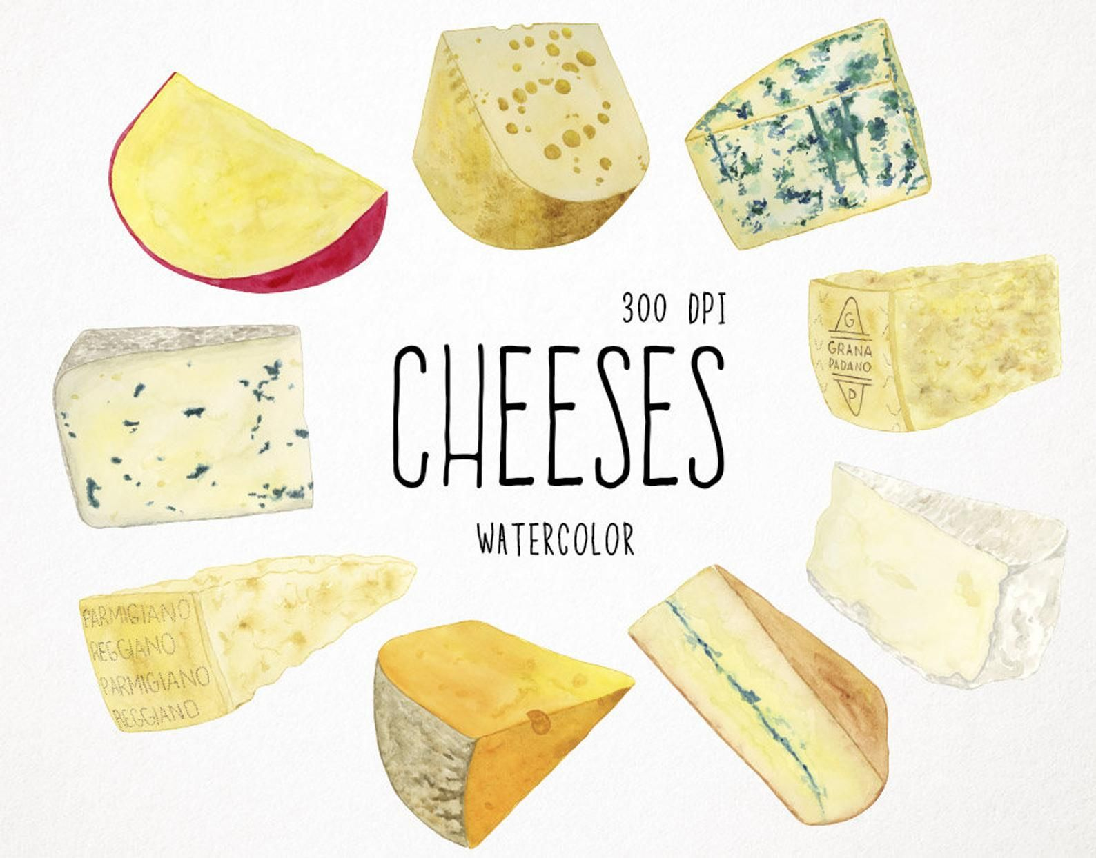 Cheese Clipart Food Clipart Watercolor Clipart Cheese Etsy Food Clipart Watercolor Food Food