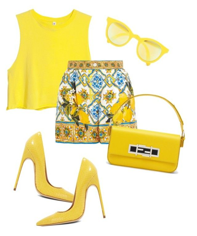 """lovelyhard"" by namelif ❤ liked on Polyvore featuring Sunpocket, H&M, Dolce&Gabbana, Brian Atwood, Fendi and summerbrights"