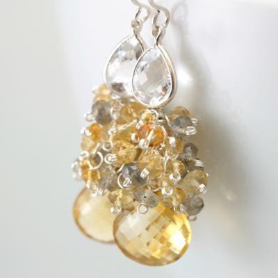 Citrine and Bezel Set White Topaz, $125 #handmade jewelry, #gemstone, #jewelry, #designer jewelry