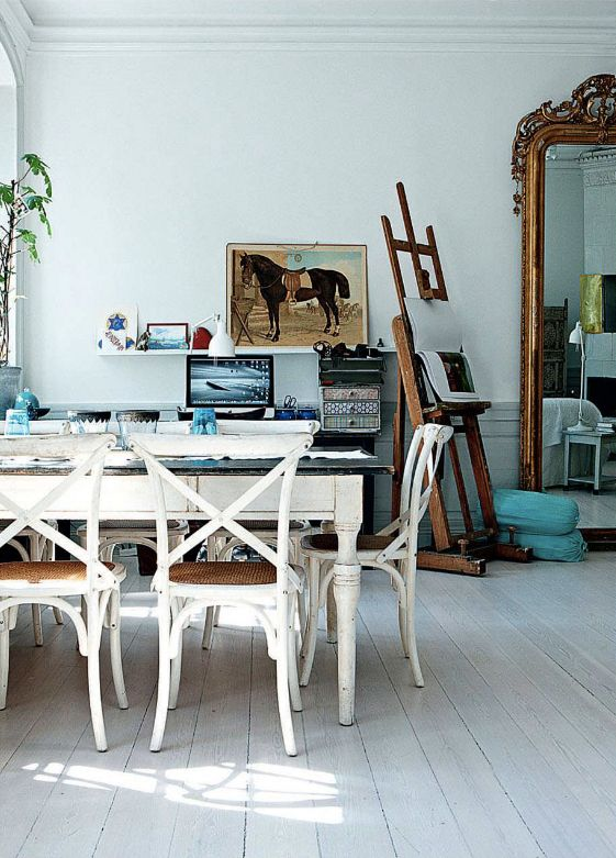 "idea for collective art space or less ""office-y"" home office / elle decor"
