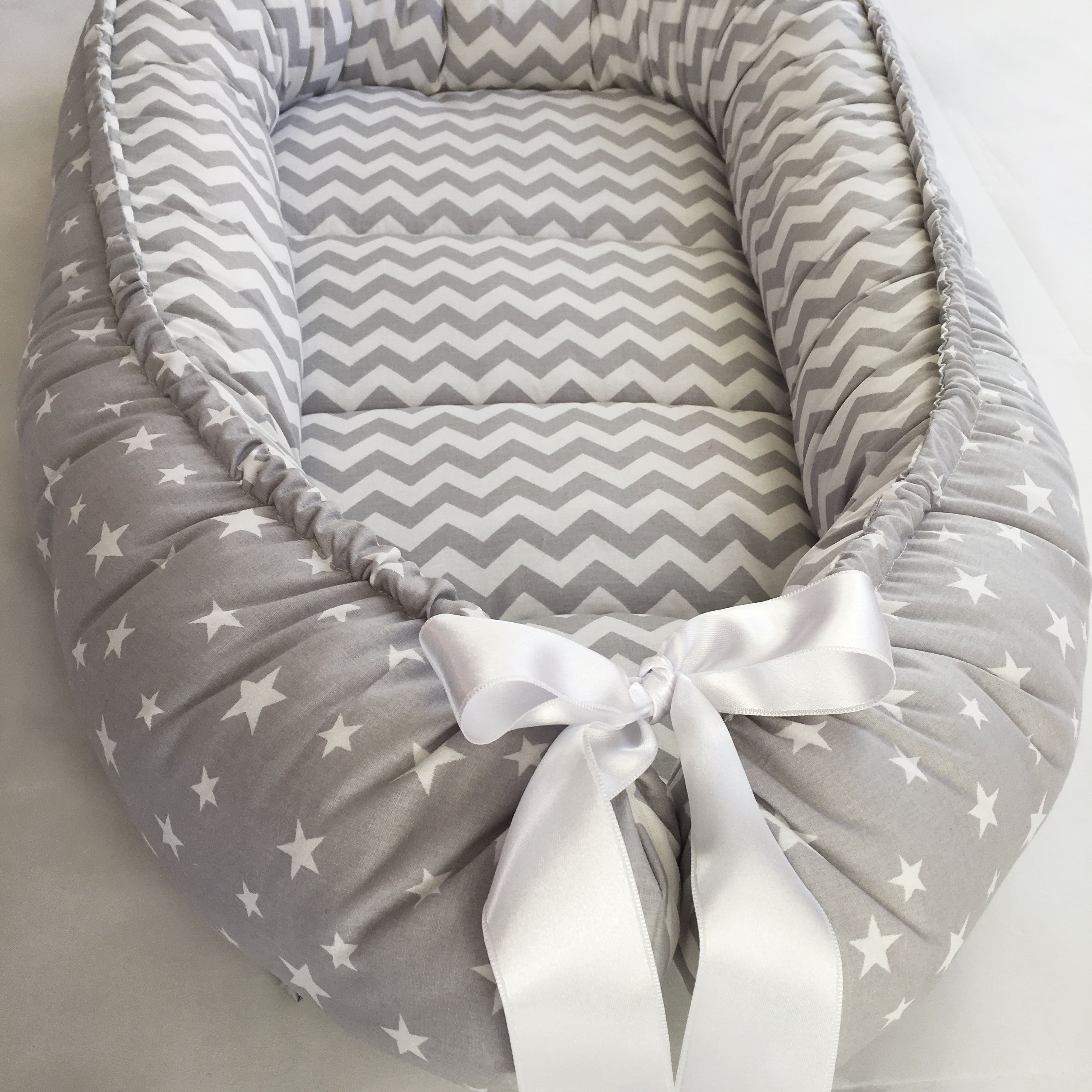 Handmade Double Sided Organic Baby Nest Bed Gray Baby Nest Baby