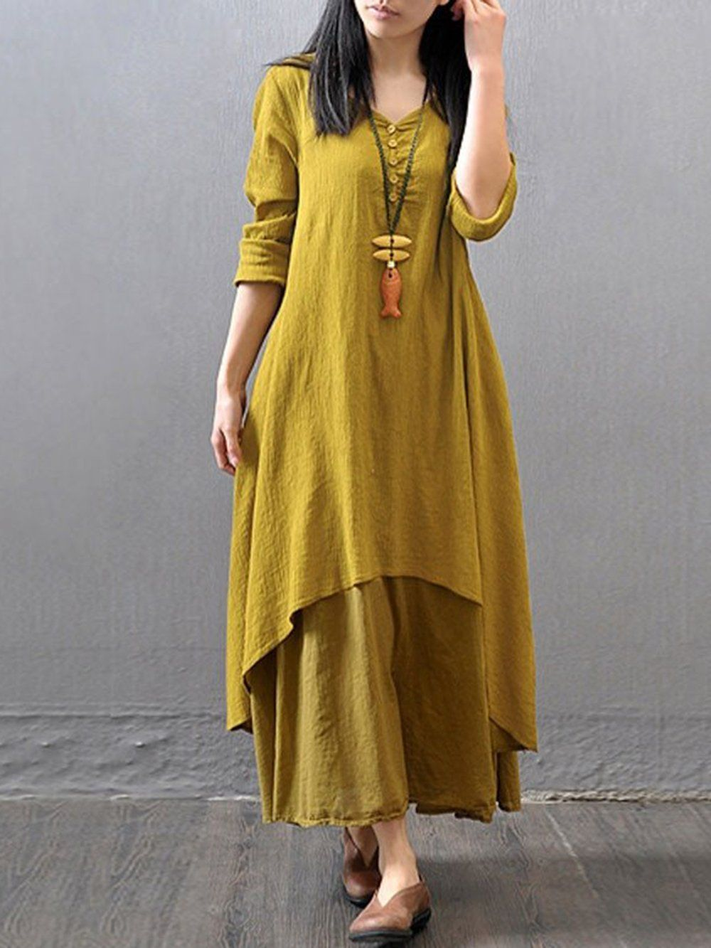 Shop Dresss 3 4 Sleeve Solid Asymmetrical Asymmetric Dresss Online Discover Unique Designers Maxi Dress With Sleeves Long Sleeve Maxi Dress Linen Maxi Dress [ 1333 x 1000 Pixel ]
