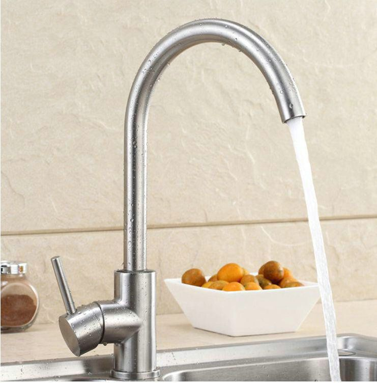 Modern Brushed Nickel Stainless Steel Single Lever Kitchen Mixer ...