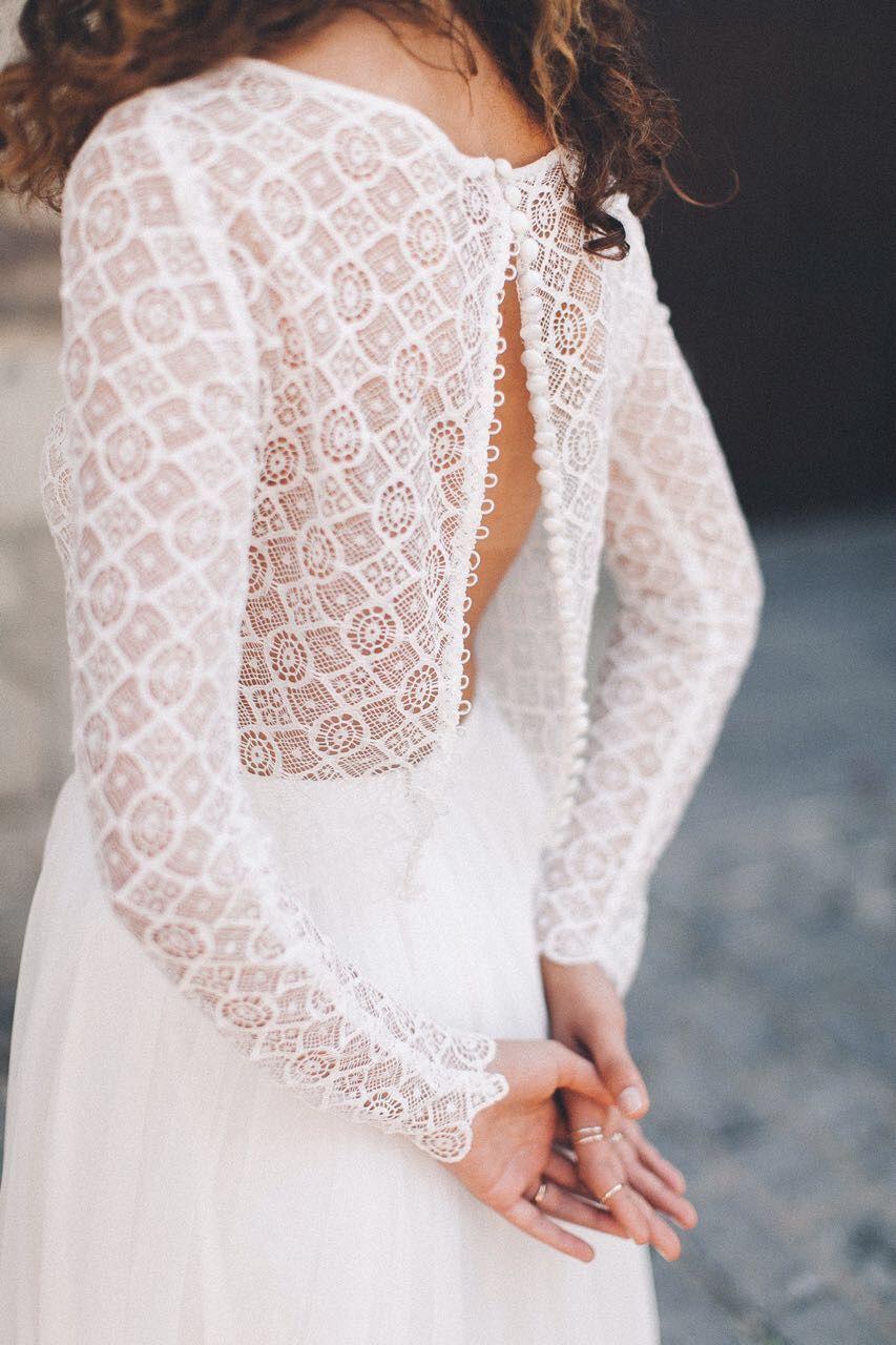 Boho Brautkleid aus Spitze Vintage Zweiteiler Hochzeitskleid Light