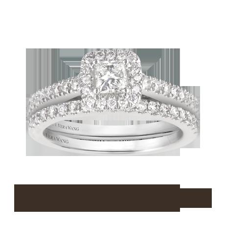 Charmant Vera Wang Love Princess Cut Total Carat Weight Cluster And Diamond Set  Shoulder Bridal Set In 18 Carat White Gold