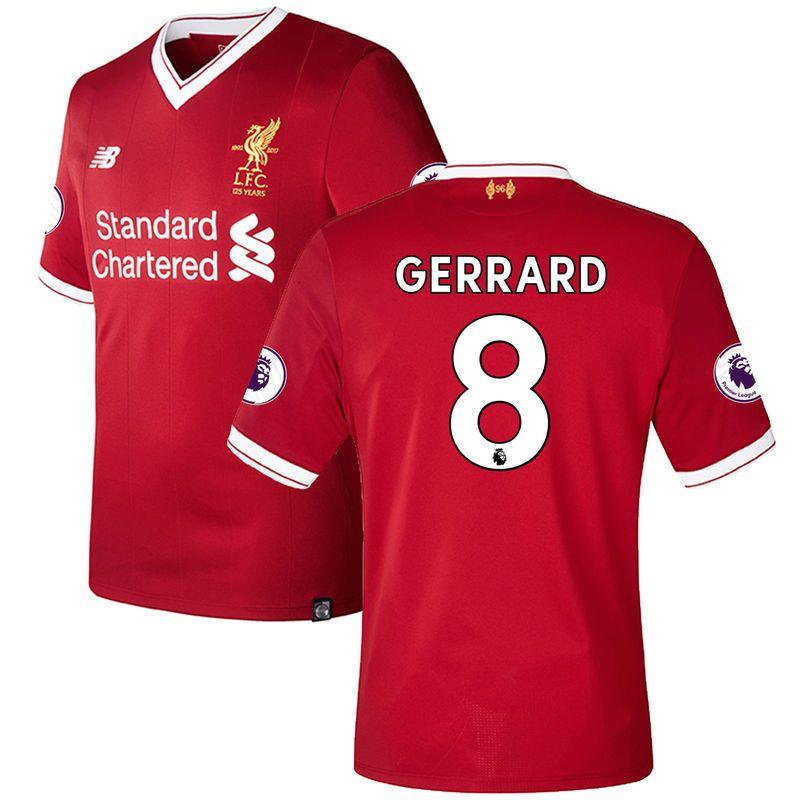 Steven Gerrard Liverpool New Balance 2017/18 Home Elite Authentic Jersey -  Red