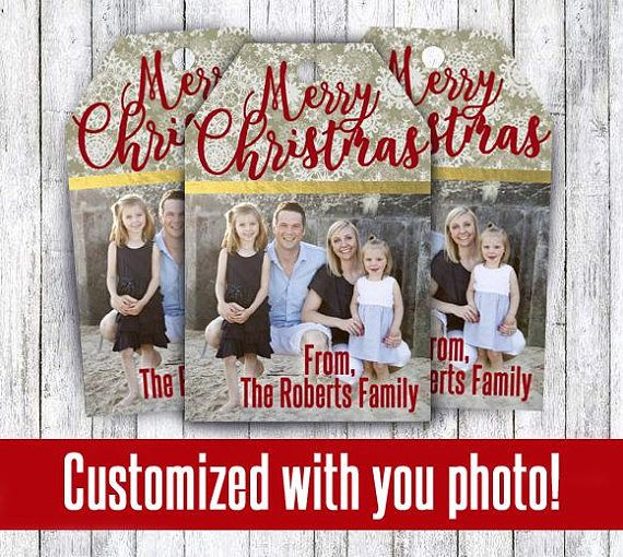 Family Photo Christmas gift tags customized with your picture in