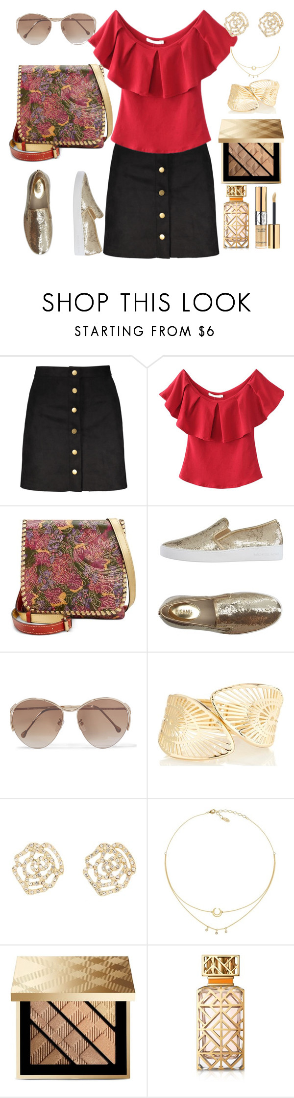"""""""gold rest"""" by francymayoli ❤ liked on Polyvore featuring Patricia Nash, MICHAEL Michael Kors, Loewe, Charlotte Russe, Burberry, Tory Burch and Yves Saint Laurent"""