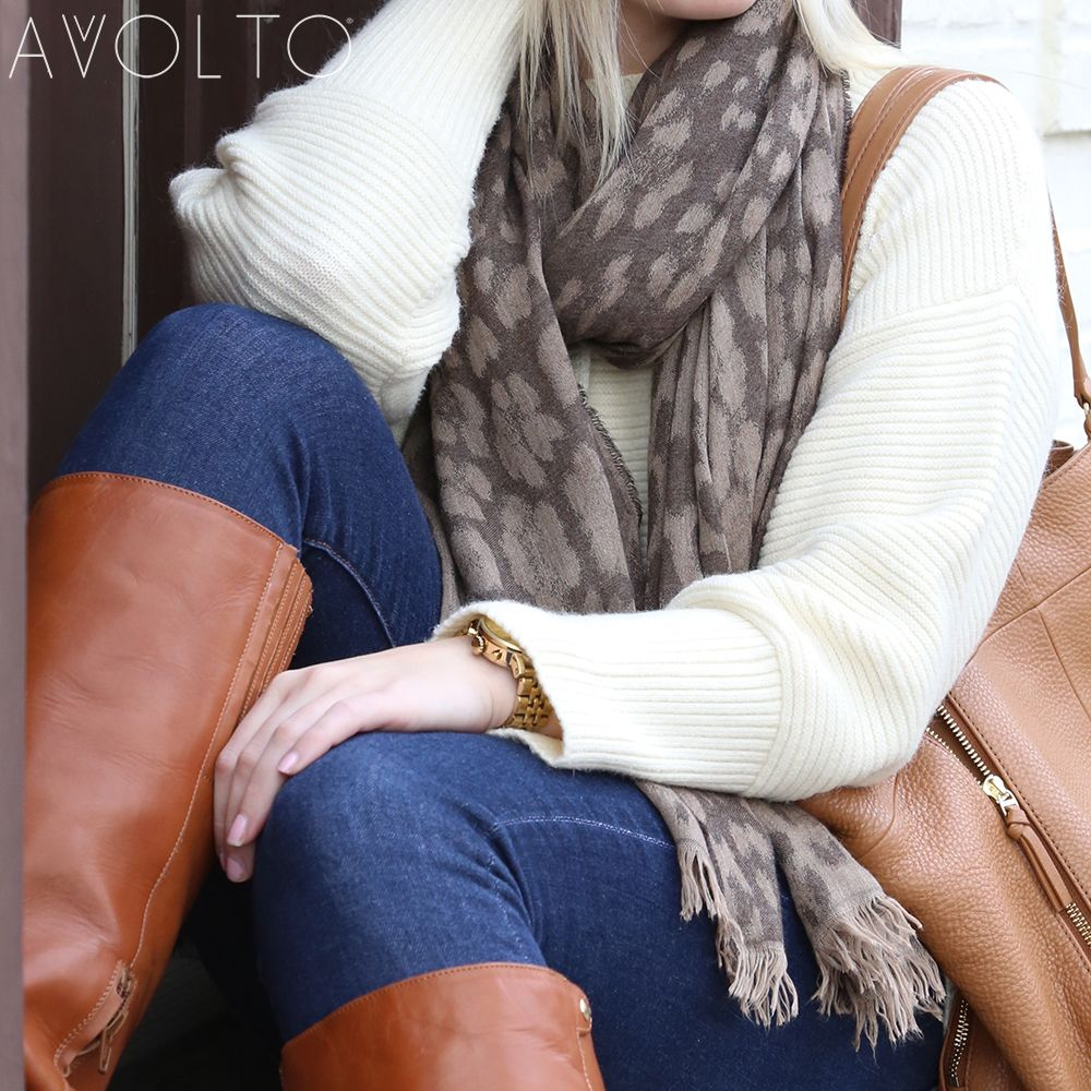 Oh so lovely- Avvolto Brown Leopard Print Scarf