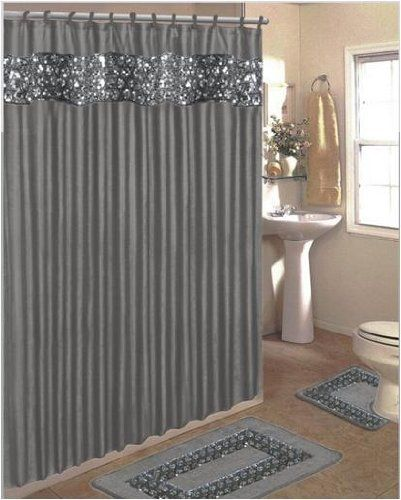 SINATRA BLING SILVER GREY FABRIC SHOWER CURTAIN, FABRIC COVERED RINGS, AREA  RUG U0026 CONTOUR