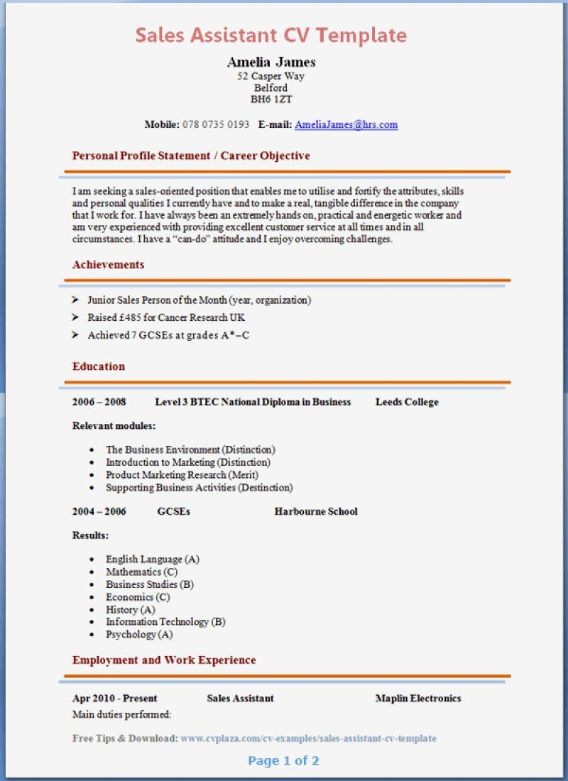 13 Sales Assistant Cv Sample Inspirations Cv Template Resume Cv Design Template