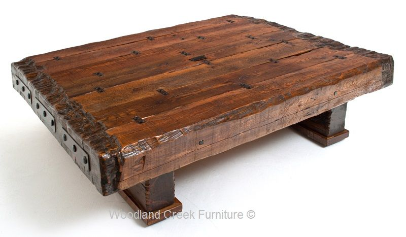 Massieve Side Table.Wood Beam Coffee Table Massive Reclaimed Timbers Solid In