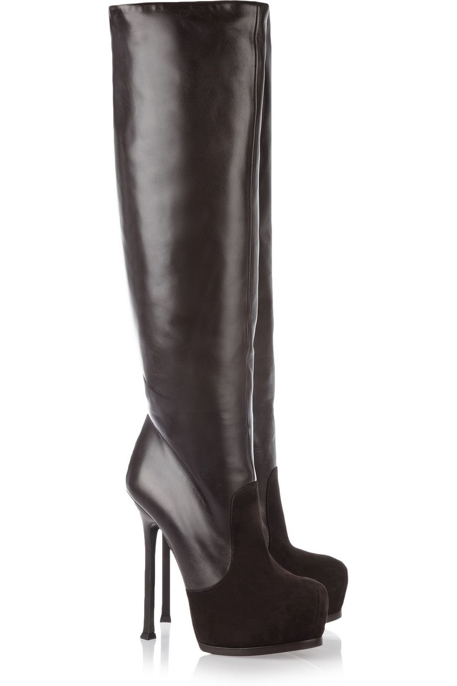 8921fc29fd9 YVES SAINT LAURENT Tribtoo leather and suede knee boots | Shameless ...