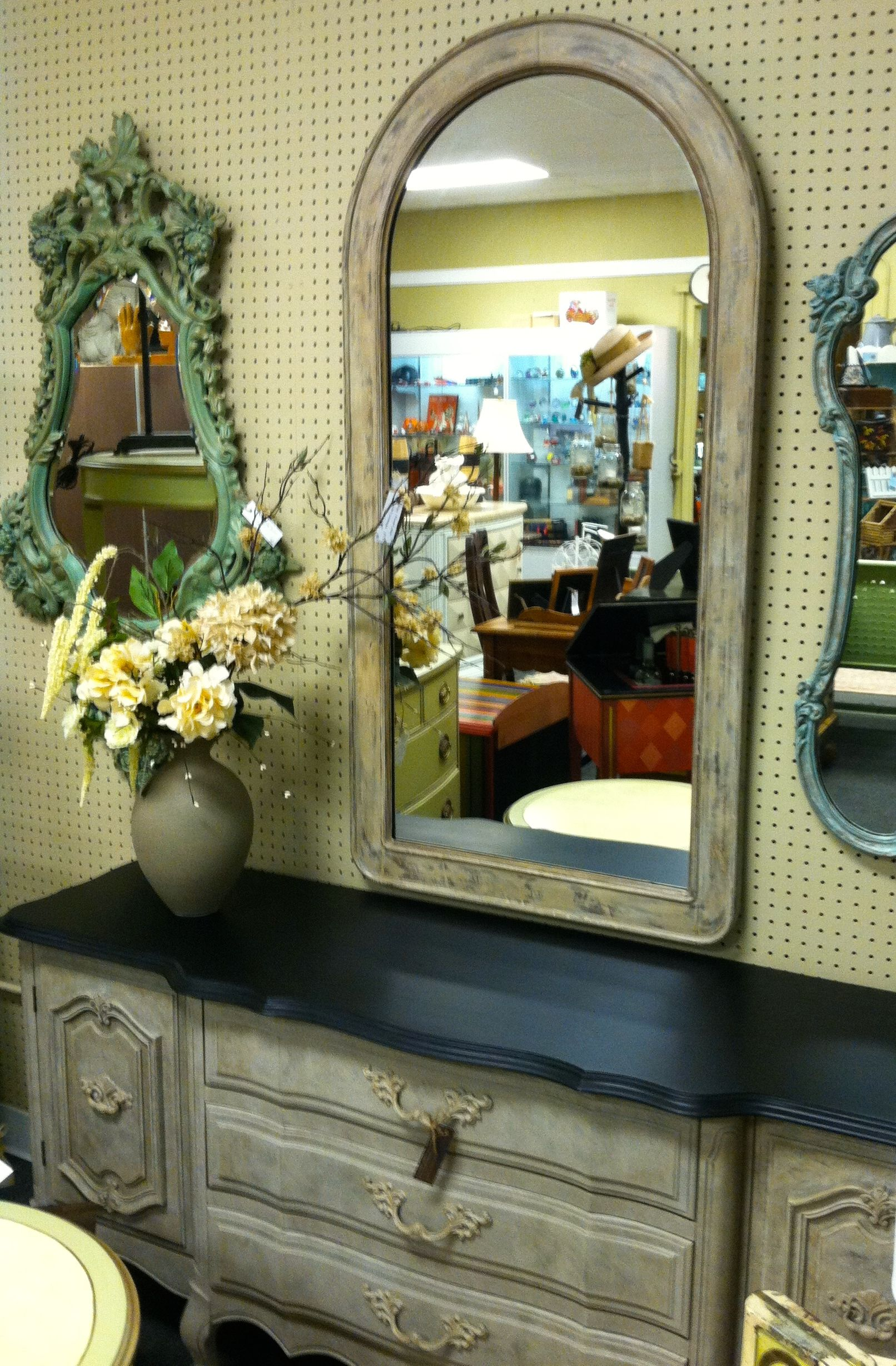 love this mirror...great auction find and painted to complement the dresser.