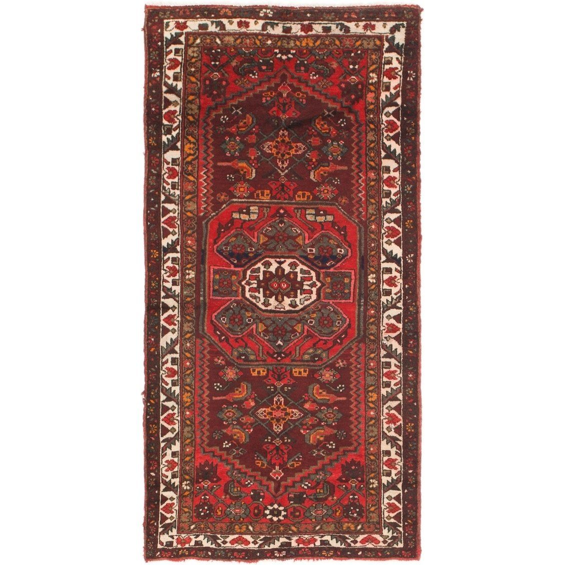 Hand Knotted Hamedan Semi Antique Wool Area Rug 3 5 X 6 7