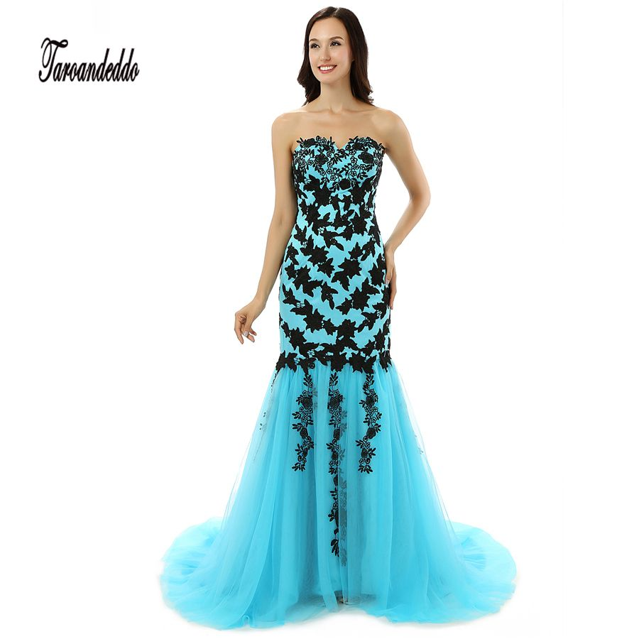 Strapless blue and black lace applique mermaid prom dress bandage