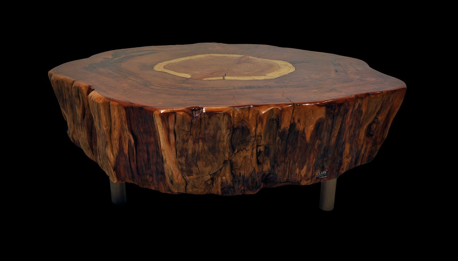 CLARK Functional Art: Very Large 4 1/2 Foot Diameter Redwood Tree Trunk  Table