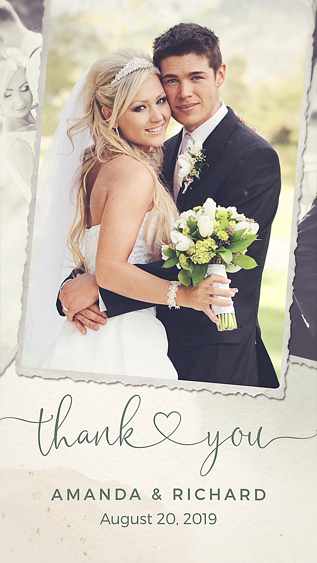 Digital Wedding Thank You Card With Photo Video Wedding Thank You Cards Digital Weddings Wedding Thank You