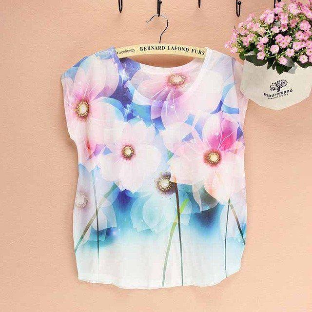 Flower print top tees  women t-shirt  summer dress FREE shipping