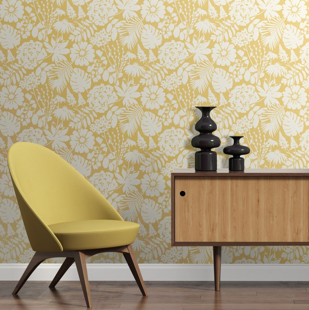 Bold Floral By Albany Mustard Wallpaper Wallpaper Di