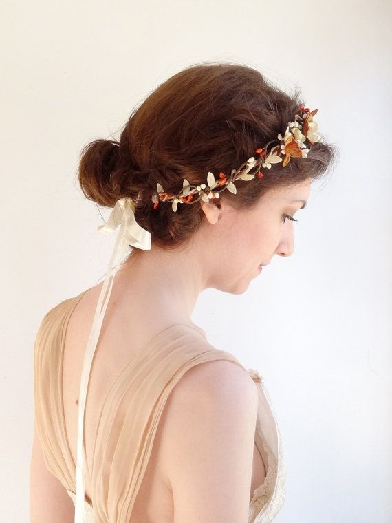 Herbst Blumen Haarreif Floral Stirnband Herbst Von Thehoneycomb Brautjungfer Haarschmuck Haarteile Hochzeit Haarschmuck Braut