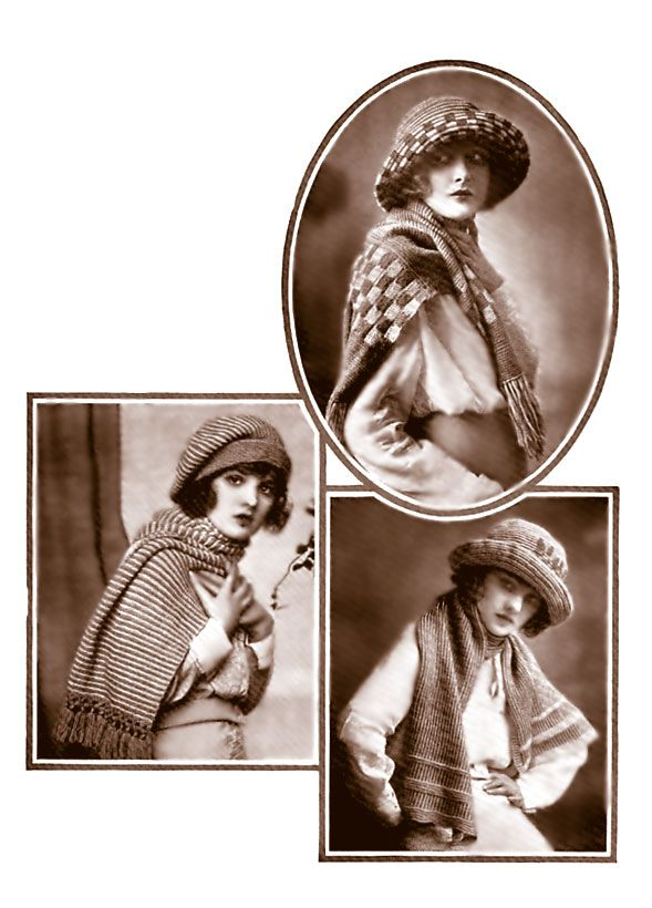 Hats & scarves, c. 1922. The brimmed hats are crocheted. | Knitting ...
