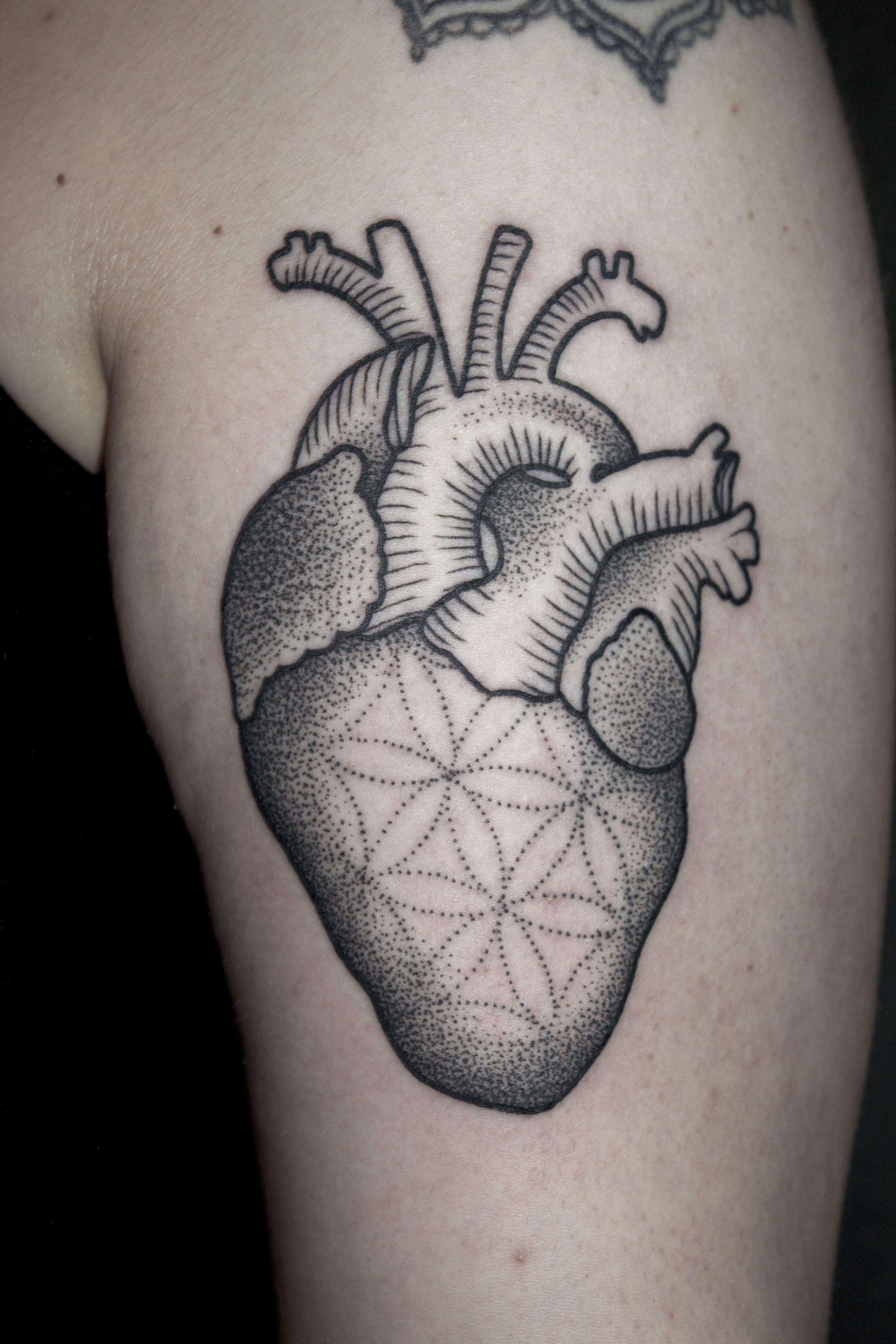 anatomical heart mandala dotwork blackwork ornament flower of life henna tibetan woodcut. Black Bedroom Furniture Sets. Home Design Ideas