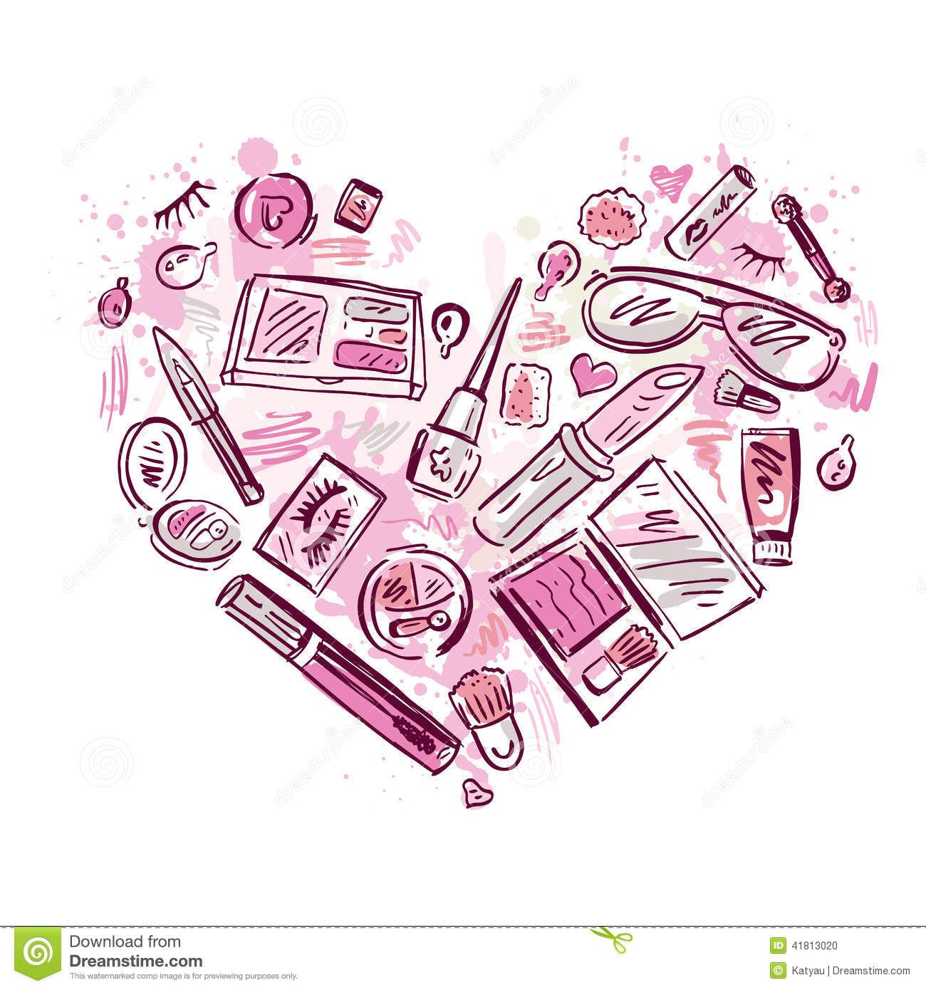 heart-makeup-products-set-cosmetics-hand-drawn-vector ...