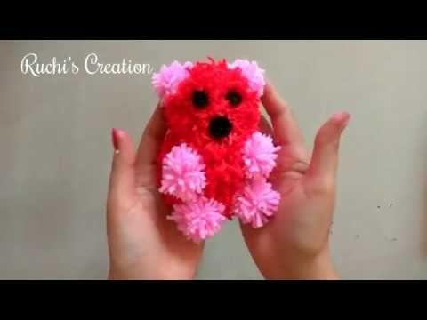 DIY Craft pom pom teddy bear / Ronycreativa English Channel - YouTube
