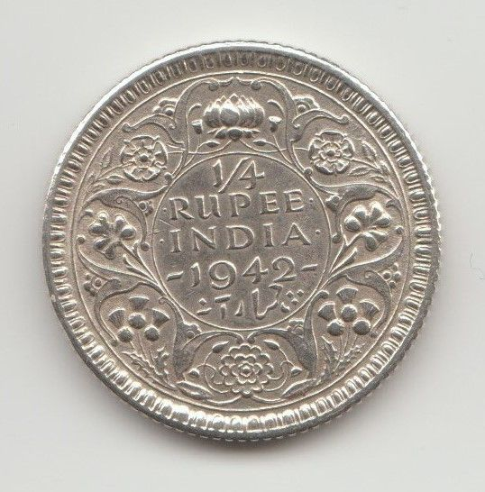 #BritishRaj #GeorgeVI #India Side : Reverse Year : 1942 CE Face value : 1/4 Rupee Mintage : 88,096,000 Metal : Silver (50 % w/w, 0.500) Weight : 2.92 g Diameter : 19.3 mm Shape : Round