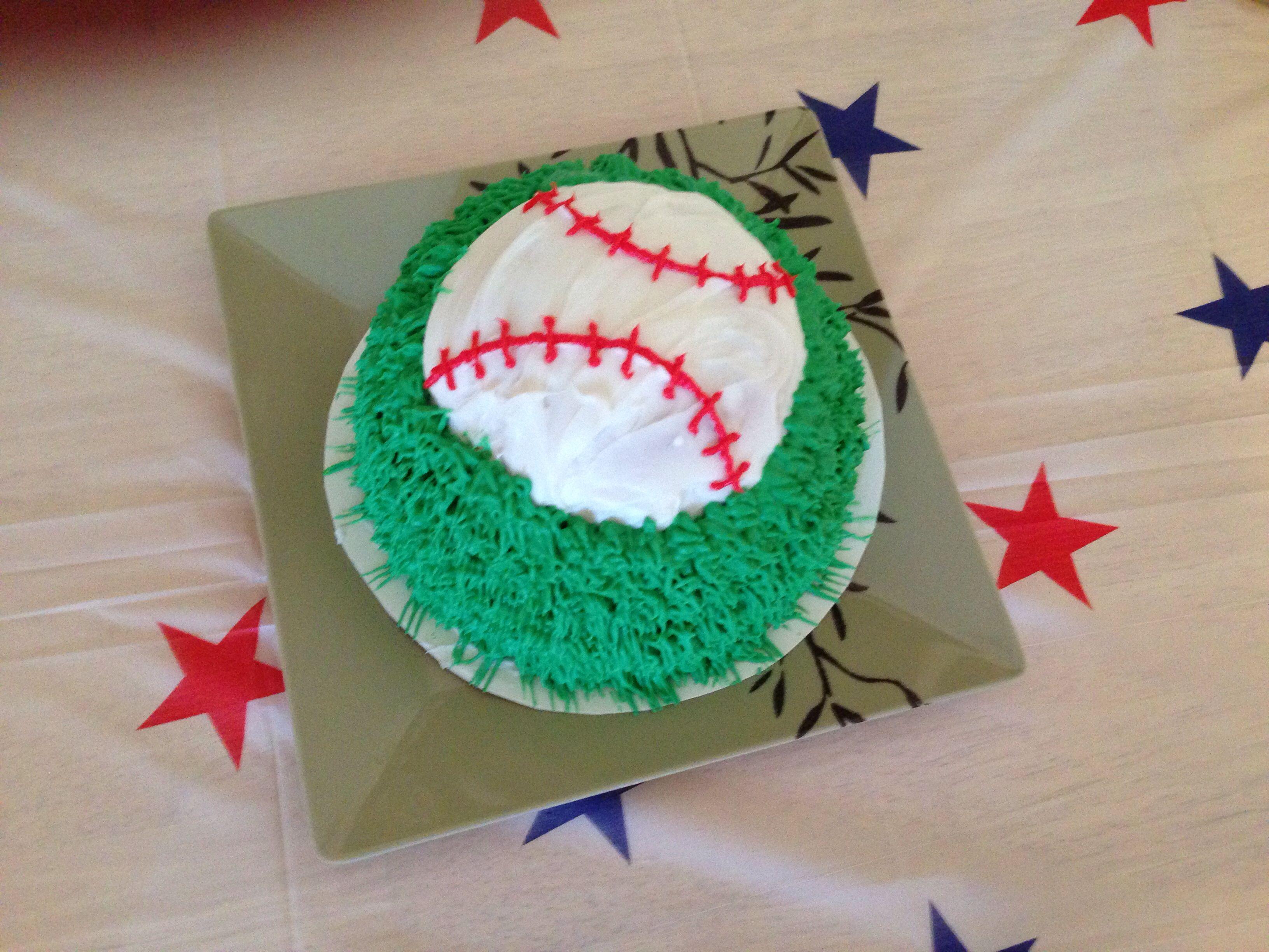Baseball Smash Cake - made by me :)  1st birthday